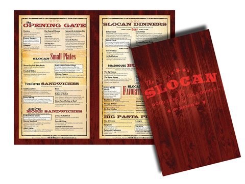 The Slocan Menu Design Image