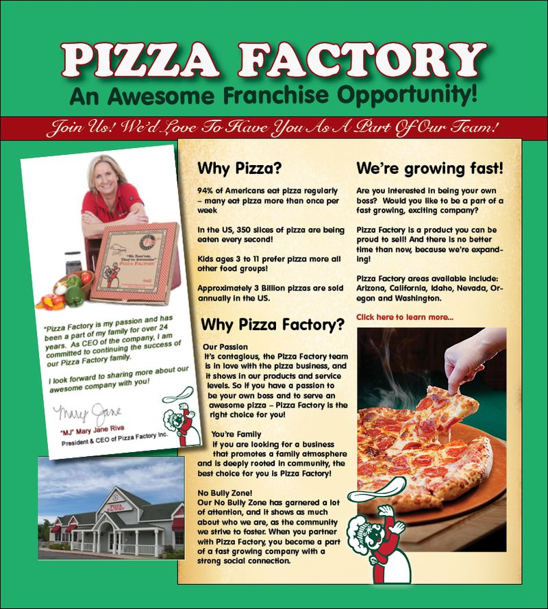 Pizza Factory Franchise Landing Page