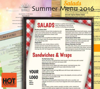 Summer Restaurant Foods Menu