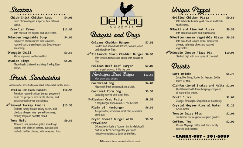 Menu Price List Example